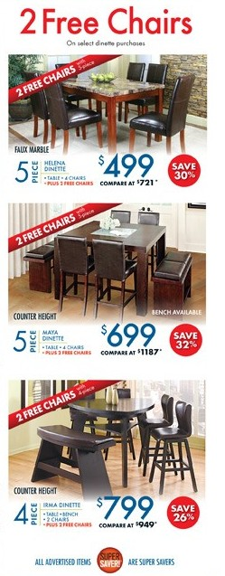 Free Furniture on Select Dinette Purchases