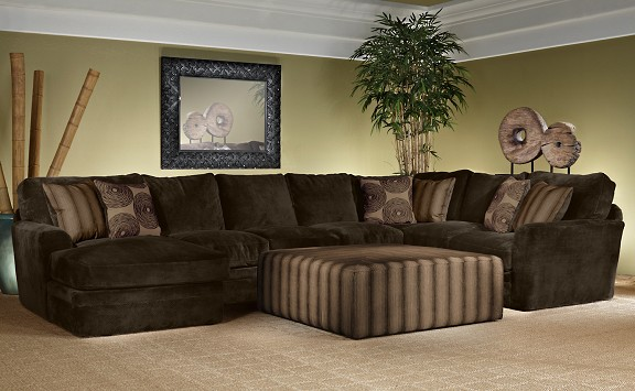 Living large with the barbados plush modern sectional for Living room ideas with brown couch