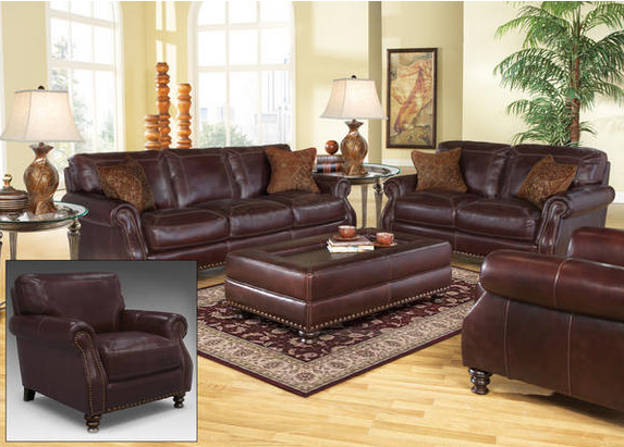 Leather living room furniture is the perfect choice for for Room place furniture