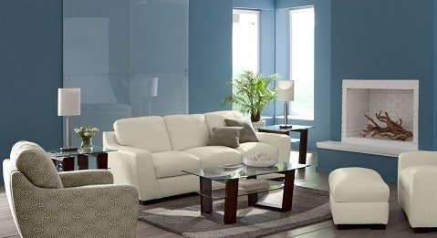 White leather living room collection