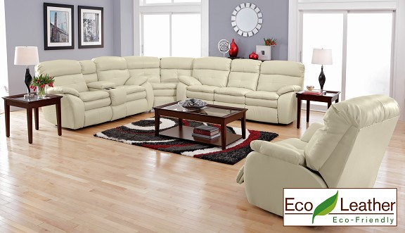White leather sofa from The RoomPlace Chicago furniture stores