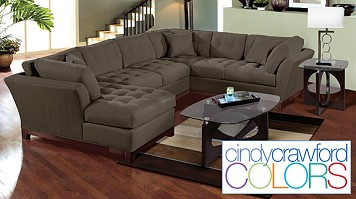 Cindy Crawford Furniture - Microfiber  Sectional Sofa Living Room Set
