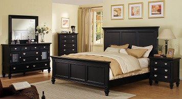 Monterey 7 Pc. King Bedroom Black Lacquer Bedroom Furniture Adds Depth ...