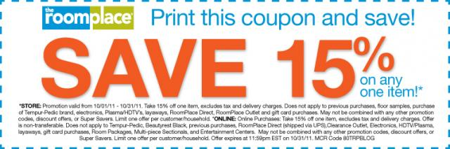 Special offer for you Save 15 on one item The RoomPlace : rpcouponforcompendium10111w640 from furniture.theroomplace.com size 640 x 213 jpeg 32kB