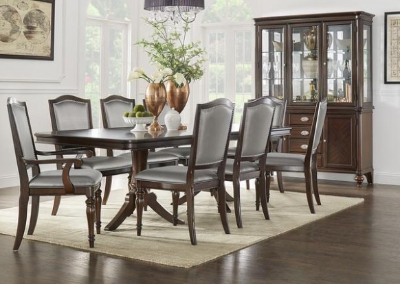 Camilla 5 Piece Dining Room Set With Silver Chairs From The RoomPlace