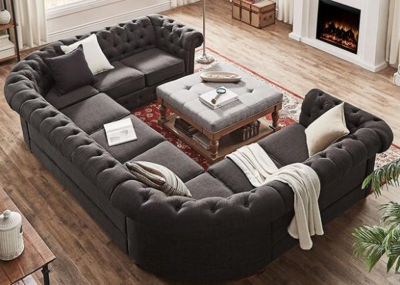 Image: Barrington Charcoal Linen 9-Seat U Sectional From The RoomPlace