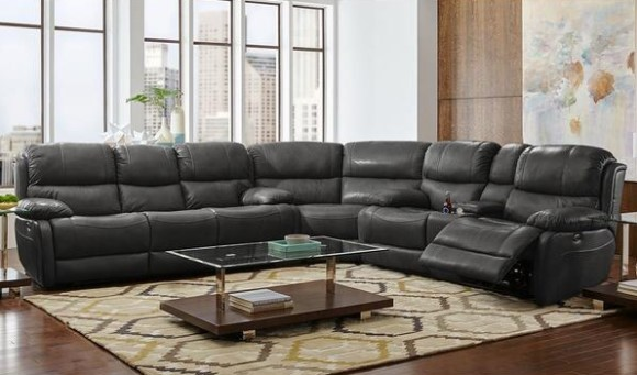 Image: Florence Charcoal 3 Pc. Leather Sectional From The RoomPlace