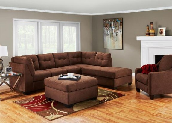 Image: Marlo Walnut 3 Piece Sectional From The RoomPlace