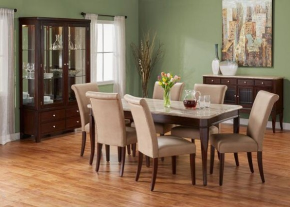 Image: Martini 7 Pc. Dinette with Parsons Chairs From The RoomPlace