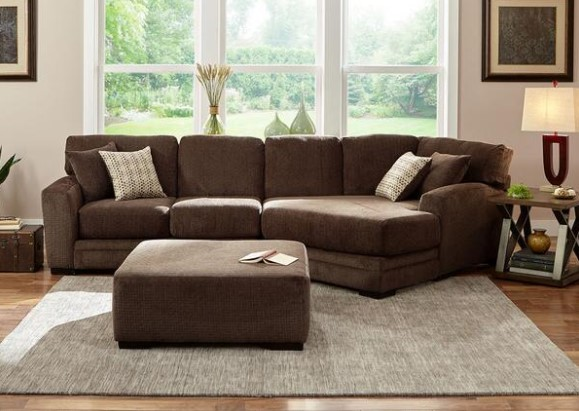 Easton Chocolate 2 Pc. Sectional W/Cuddler Chaise from The RoomPlace