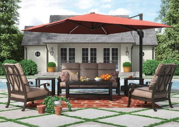 Grand River 7 Pc. Complete Patio Set W/Sofa from The RoomPlace