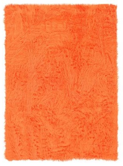 Image: Linon Orange Faux Sheepskin Area Rug from The RoomPlace