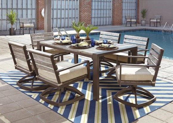 Image: Oakwood 7 Piece Patio Set With Swivel Chairs From The RoomPlace