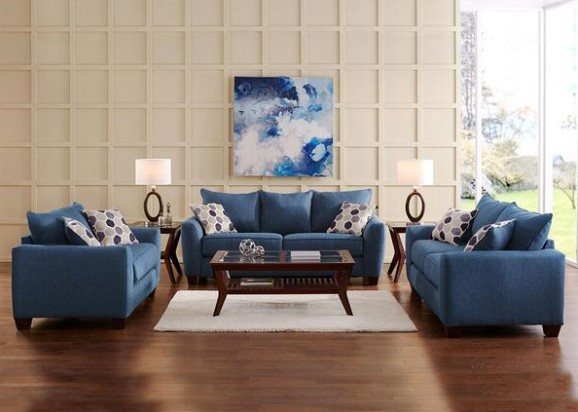 Heritage Blue 3 Pc. Living Room from the RoomPlace