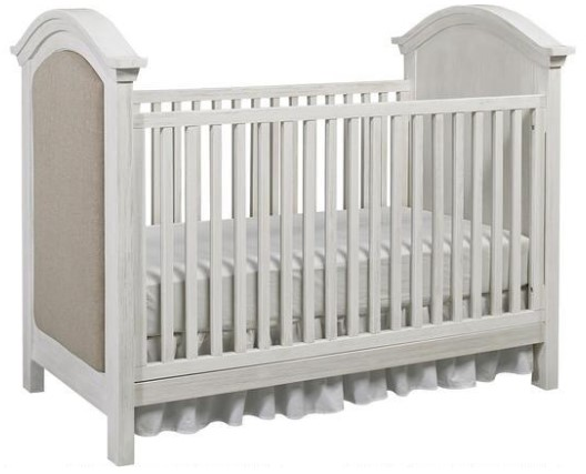 Lucca Sea Shell White Upholstered Convertible Crib by Dolce Babi from The RoomPlace