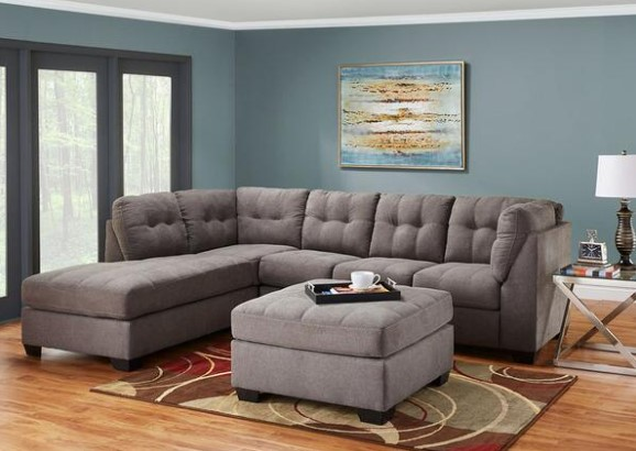 Marlo Charcoal 3 Pc. Sectional with Full Sleeper (Reverse) from The RoomPlace