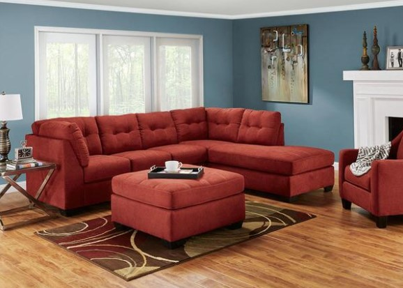 Marlo Red 3 Pc. Sectional with Full Sleeper from The RoomPlace