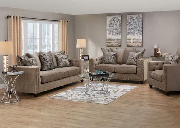 "Newcastle Platinum 3 Pc. ""Floating"" Living Room from The RoomPlace"