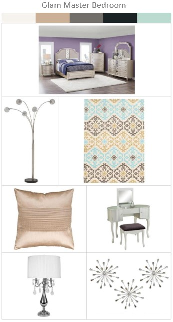 Trending Looks Series Glam Master Bedroom The RoomPlace Beauteous Bedroom Furniture Accessories