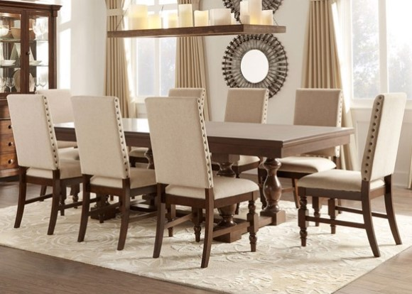 Charlotte 9 Pc. Dining Room w/Linen Chairs from The RoomPlace