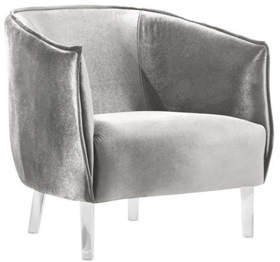 Sammi Gray Velvet Accent Chair from The RoomPlace